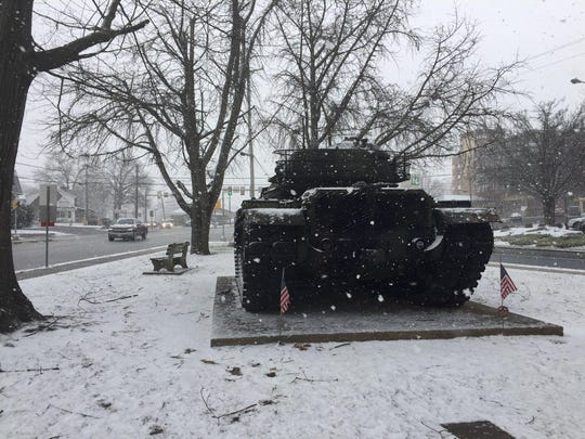A tank at Fisher Veterans' Memorial Park on Tuesday afternoon, as snow begins to fall in Lebanon.