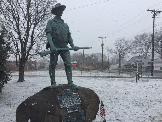 The Hiker statue at Fisher Veterans' Memorial Park
