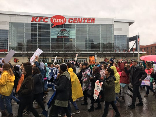 Front of the March for Our Lives now passing the Yum! Center.