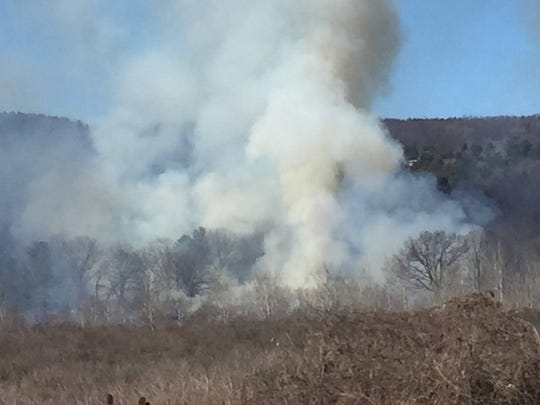 Smoke covered a large area when there was a brush fire in Steuben County on Monday.