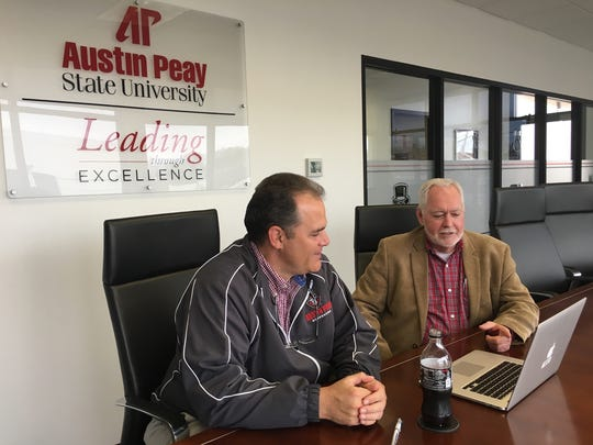 Mitch Robinson, vice president for Finance & Administration at Austin Peay State University, details campus expansion plans with Bill Persinger, APSU executive director for Public Relations & Marketing.