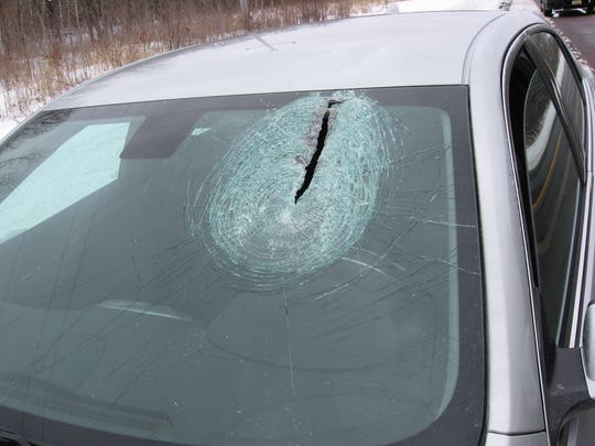 A Wood County Sheriff's Department captain said there is likely no way to find the semi a piece of ice came from that put a hole in the windshield of Derek Baker's car.