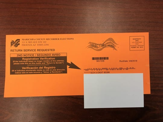 A registration verification notice from the Maricopa