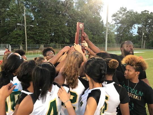 Lincoln's flag football team celebrated a district