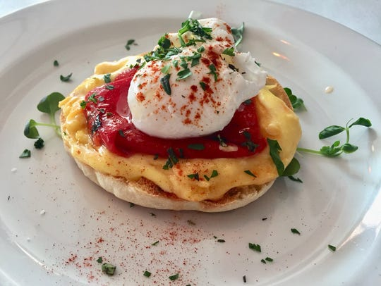 A single order of Eggs Benedict from Devotay in Iowa