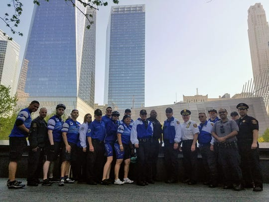 Members of the Linden Police Department prepare to leave New York City as part of the Police Unity Tour heading to Washington D.C.