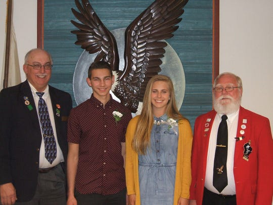 Manitowoc Eagles Aerie No. 706 recently awarded scholarships to three individuals. Pictured, from left, are Francis Jorasz, Aerie 706 worthy president; Trevor Ploederl, recipient; Sydney Fricke, recipient; and LaVerne Britt, Wisconsin State Eagles president. Absent when the picture was taken was Ashley Schermetzler, recipient.