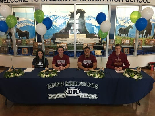 Damonte Ranch had four athletes sign for college: Alyssa Moates; Zach Jensen; Esteban Lopez; and Robert Daugherty.