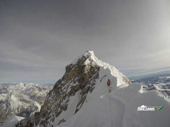 Neal Kushwaha captures the road to the summit of Mount Everest from the middle of the Northeast Ridge during his descent.