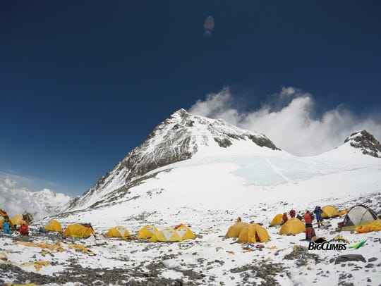 View of Mount Everest from camp four.
