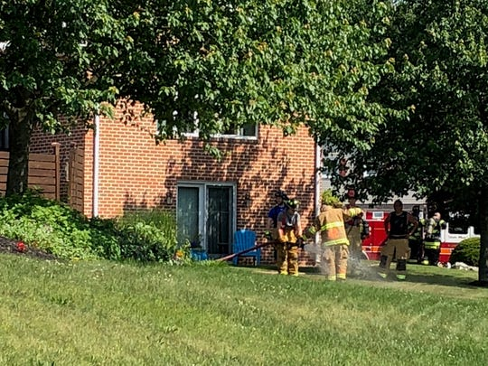 Firefighters respond to a fire at 1780 Creston Drive in North Lebanon on Saturday morning, June 9, 2018.
