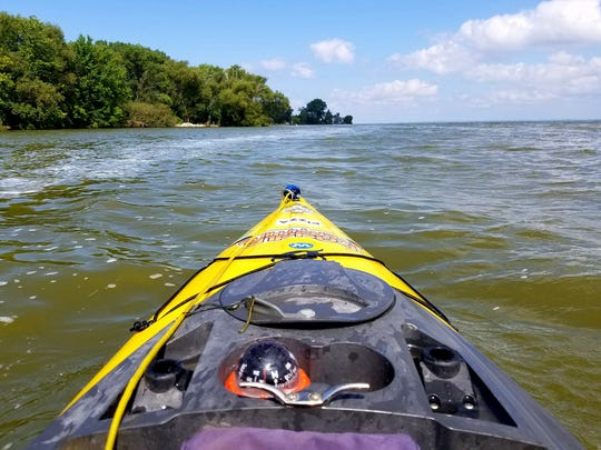 A view from McArthur's kayak on Paddle Everything as he paddled around Lake Winnebago last year for Camp to Belong and natural resources awareness.
