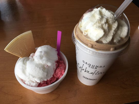 The lemon and triple berry sorbet and the peanut butter fudge smoothie at Grounds for Celebration in Des Moines.