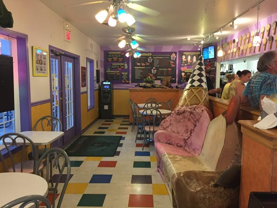 Papa Jack's interior and ice cream bench.