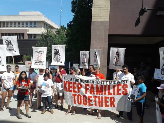 Demonstrators gather outside the Waukesha County Sheriff's Office at the courthouse on June 30 to protest the county's involvement in the federal immigration control enforcement initiative. The Waukesha protest was part of a broader national protest on immigration issues tied to the Trump administration.