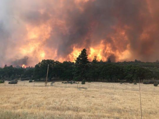 The Klamathon Fire near the California-Oregon border has burned more than 1,000 acres.