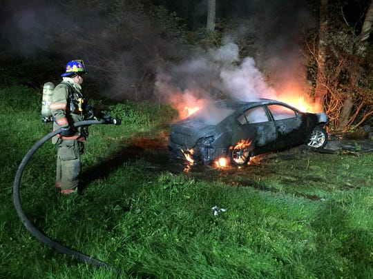 Eureka Volunteer Fire Co. responded to a car fire in Hopewell Township on June 26. Photo courtesy of Eureka Fire Co.