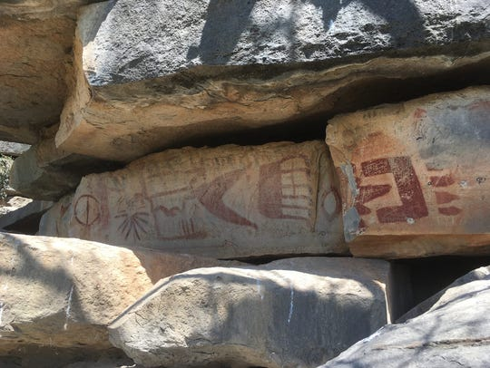 The Painted Rocks are Native American pictographs located