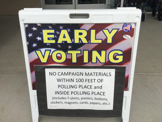 Early voting sign on Pageant Lane
