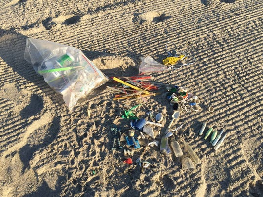 The assortment of trash picked up off the Deal beach