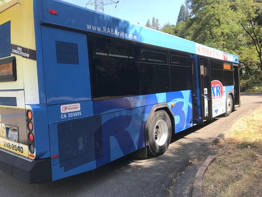 A Redding Area Bus Authority bus waits to evacuate