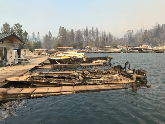 The Carr Fire has destroyed some 40 boats at Oak Bottom Marina on Whiskeytown Lake.