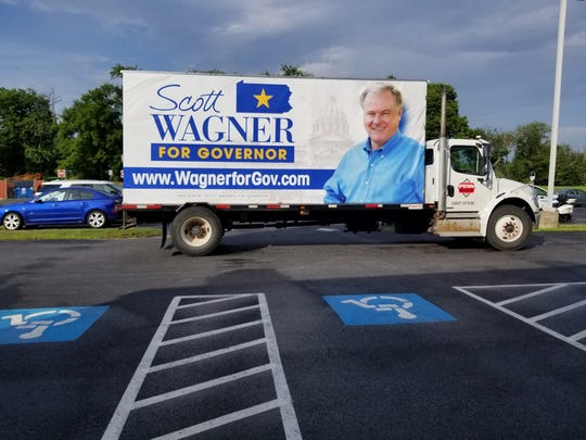 A Penn Waste truck being used as a campaign ad for the company's owner, Republican gubernatorial candidate Scott Wagner.