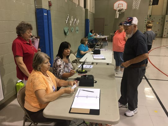 Voters cast their ballots at Woodlawn Elementary School