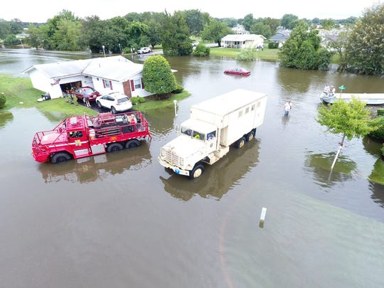 Heavy rains and flooding forced evacuations at 105 residences in Brick Monday, police said. Images courtesy Brick Township Police Department.