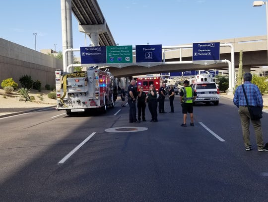 Emergency services outside Phoenix Sky Harbor while