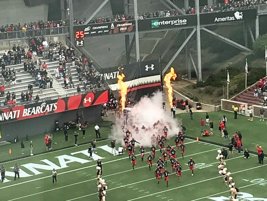 The Cincinnati Bearcats take the field at Nippert Stadium