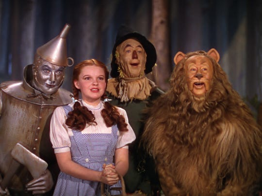 Jack Haley, Judy Garland, Ray Bolger, and Bert Lahr in 'The Wizard of Oz.'