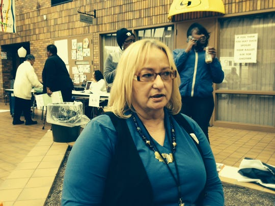 Sharon Meadows of Detroit is an election-site challenger on Detroit's east side.