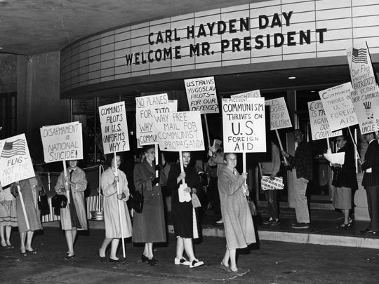 Protesters picket the front entrance of the Westward Ho Hotel in 1961 when President John F. Kennedy visited.
