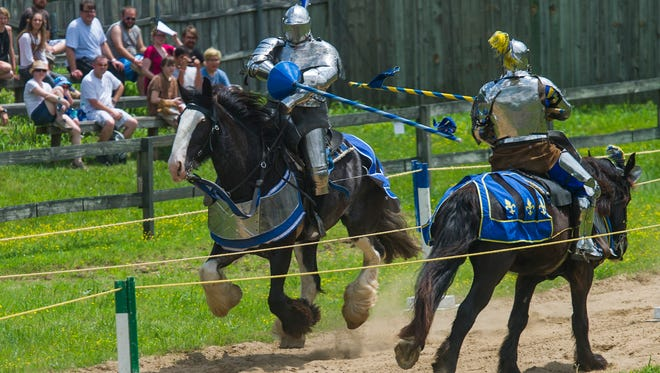 Re-enactors compete in a round of jousting at the Tennessee Renaissance Festival in 2017. This year's festival begins May 5 and runs weekends throughout the month as well as Memorial Day.