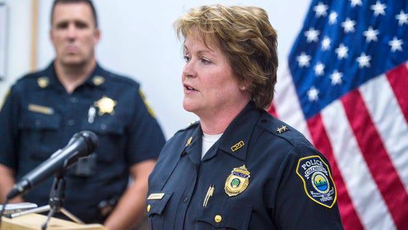 Colchester Police Chief Jennifer Morrison speaks at