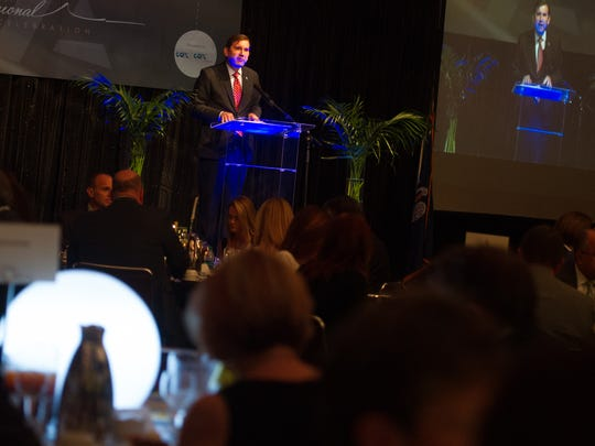 Jason El Koubi addresses the attendees as One Acadiana talks economy and regional future during the annual banquet at the Cajundome Convention Center Wednesday.