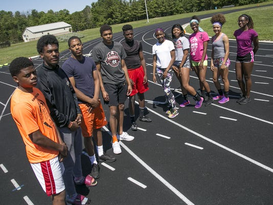 The state-bound Tygers, left to right: alternate Angelo Grose, Jornell Manns, Davis Chapman, Joe Ellis, Tyrese Long, Jakair Brown, Alaya Grose, Nayasha Franklin, Alaysia Grose and Tor'Reian Brown.
