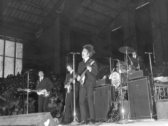 The Beatles performing at the Indiana State Fairgrounds
