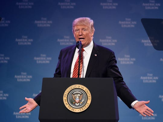 President Trump speaks at the American Legion 99th National Convention at the Reno-Sparks Convention Center on Wednesday August 23, 2017.