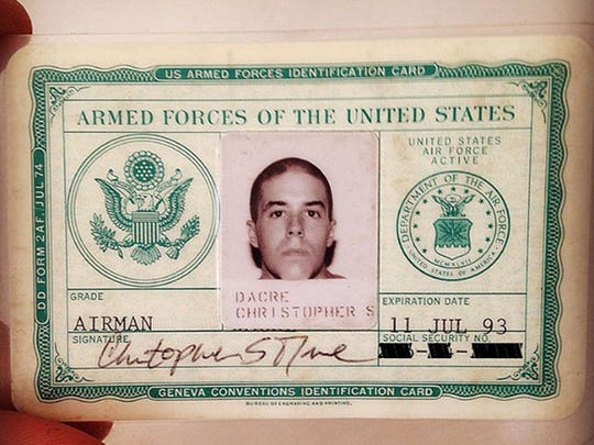 Chris Dacre's military ID. He served in the U.S. Air Force from 1989 until 1993 and then served in the reserves for four years after that.
