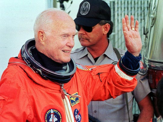 In this 1998 file photo, U.S. astronaut and Sen. John Glenn, then 77 years old, prepares to board the Space Shuttle Discovery. We need leaders with Glenn's courage now, Ohio Democratic Chairman David Pepper writes.