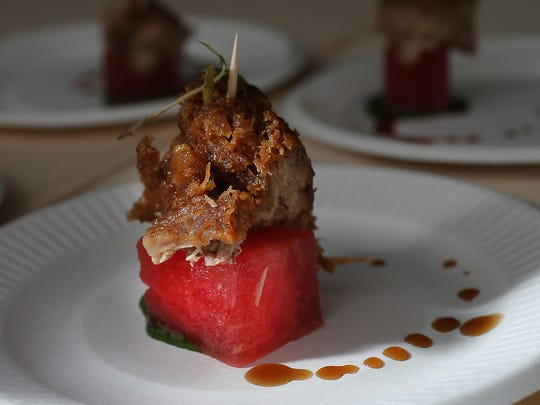 Duck Confit Short Rib on Watermelon from Mesh on Mass.