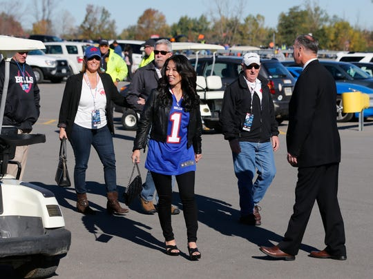 Kim Pegula arrives before an NFL game between the Buffalo Bills and the New England Patriots at Ralph Wilson Stadium on Oct. 12, 2014.