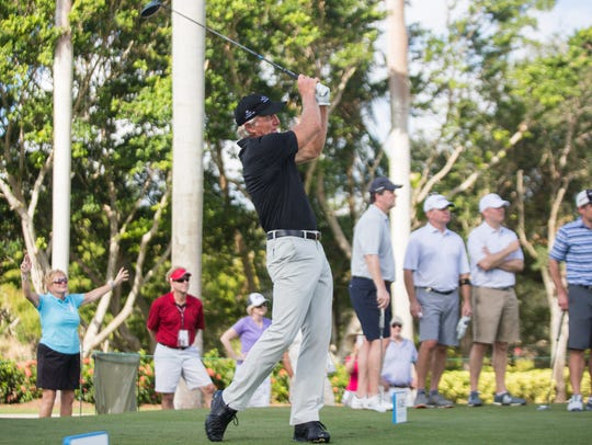 Greg Norman tees off during the QBE Shootout at the Tiburón Golf Club in Naples on Thursday.