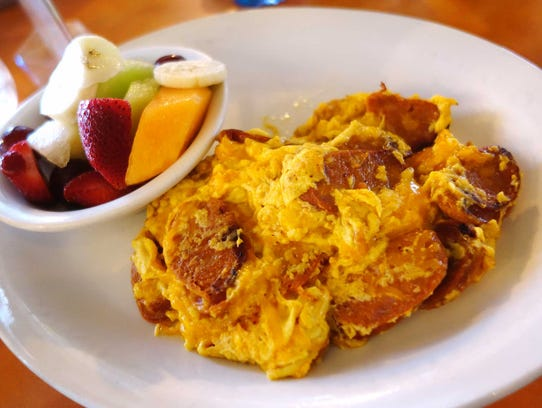 Linguica and Cheddar scramble at Original Breakfast