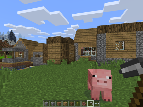 A Minecraft pig on a Minecraft farm