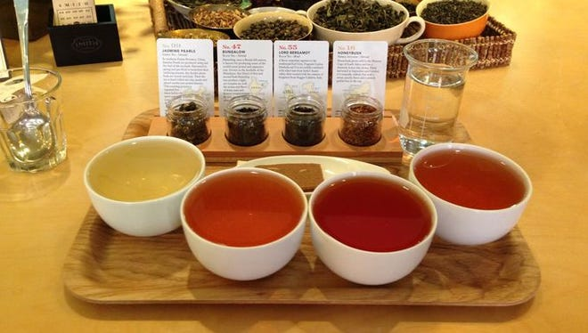 Four different teas at Steven Smith Teamaker in Portland, Ore.