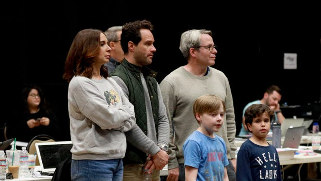 Maya Rudolph, left, Chris Diamantopoulos, Matthew Broderick, Andy Walken and Tyler Wladis take part in a rehearsal for Fox's 'A Christmas Story Live!'