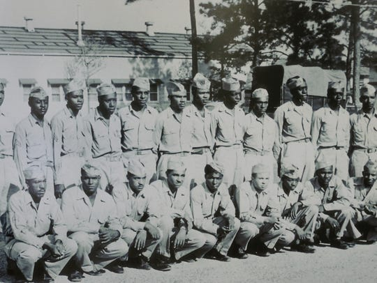 This image of Tuskegee airmen is on display in the